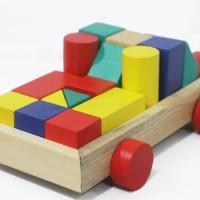 Mainan Anak Kayu Edukasi / Edukatif - Balok Bangun Truk