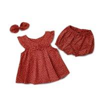 Mosfit Festive Red Flower Baju Setelan Anak Perempuan