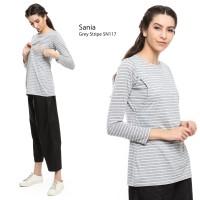 Just Mom Atasan Menyusui Sania grey stripe SN117