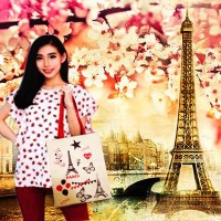 Goodie Bag Paris Tas Casual Paris Tenteng Eiffel Love in Tote Bag Tott