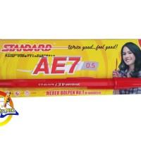 Pen / Bolpen/ Pulpen/ Ballpoint/ Pena Standart AE7 Merah - 1 Pack (12