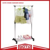Stand Hanger Single Sisi Satu Rak Dengan 4 Roda Asli Portable Murah