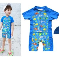 Baju Renang/Diving/Swimsuit Anak Ultraviolet Protection 50+ Ikan Biru