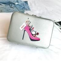 20134 tas batam impor kosmetik make up beauty case silver murah wanita