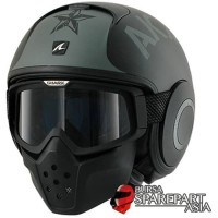 Helm Shark RAW Sayouz Black Half Army Full Sporty Original Retro