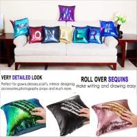Sarung bantal sofa kursi berwarna magic Reversible Sequin Mermaid