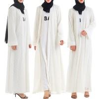 2019 Musim Semi Abaya Wanita Renda Maxi Terbuka Cardigan Muslim Islam