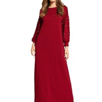 Muslim Wanita O-Leher Memaku Angin Nasional Gaun Panjang Jilbab Maxi K