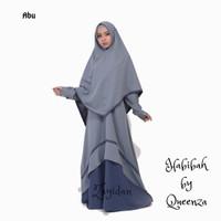Gamis Set Khimar Syari Queenza - Habibah series - Abu