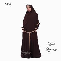 Gamis Muslimah set Khimar TERLARIS - Queenza Hawa - Coklat