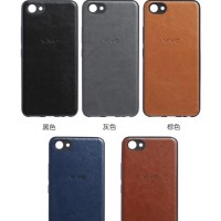 Oppo A3s Luxury Logo PU Leather Skin Back Cover Case
