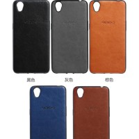 Oppo A7 Luxury Logo PU Leather Skin Back Cover Case