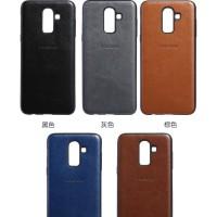 Samsung J4 2018 Luxury Logo PU Leather Skin Back Cover Case