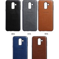 Samsung A7 2018 Luxury Logo PU Leather Skin Back Cover Case