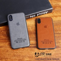 iPhone X Xs Executive Leather Skin Soft Back Cover Case Casing Kulit
