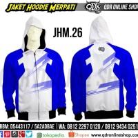 JHM 26 White-Blue Jaket Hoodie Merpati