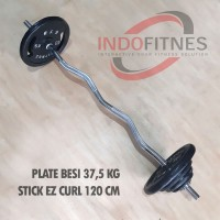 Paket Gym Stick EZ Curl Bar 3cm + Plate beban besi Dumbell Barbel