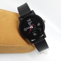 jam tangan wanita / cewe vinergy tali karet hitam original JDSB
