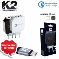 [ 3 PORT USB ]Charger K2 Premium Quality [K2-CH02] QUALCOMM 3.0 FAST