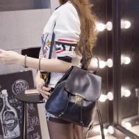 Fashion Backpack 2412 Korea Style Tas Ransel Wanita Import Hitam