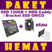 PAKET HEMAT SSD 120GB V-GeN + HDD Caddy 12.7 mm / 9.5 mm | DVD to HDD