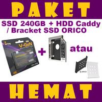 PAKET HEMAT SSD 240GB V-GeN + HDD Caddy 12.7 mm / 9.5 mm | DVD to HDD