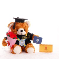 boneka wisuda teddy bear cream 26cm + buket bunga 782f57c2ae