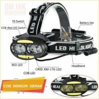 senter kepala / Headlamp 4 x XML T6 2 x COB 30000 Lumens