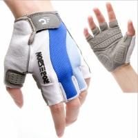murah Gloves Sepeda Sarung Tangan Gel Half Finger Motor Biru Putih