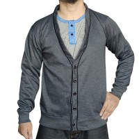 Muscle Fit Cardigan Pria V-Neck Polos - Motif Piping