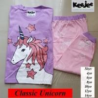 Baju Tidur Anak Gambar Motif Unicorn Pink Lucu Piyama Anak 8-10 Tahun