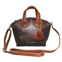 Hand Bag GVNCY Darkbrown Motif -Kenes Leather