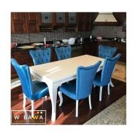 Meja Makan 6 Kursi Minimalis Shabby Mewah Warna Biru