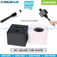 Square Mic Flag Microphone Interview / Cube Logo Station BLACK
