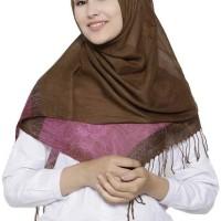 jilbab wanita pashmina katun bagus tidak panas wrna coklat gradasi
