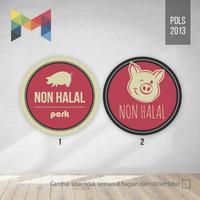 Cetak Stiker Label Produk & Makanan Non Halal /Bulat 2,5 cm - PDLS2013