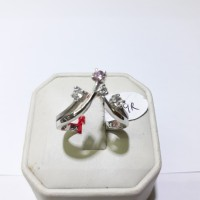 Cincin emas putih 75% berat 4 gram ukuran 14 dan 15 mata pink