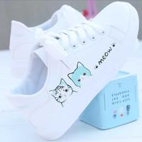 Sneakers Kucing Meow Sepatu Putih Casual Wanita Terbaru Good Quality
