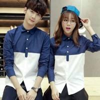 kemeja couple ardillo lengan panjang - baju pasangan navy putih