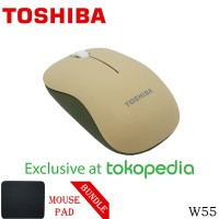 Toshiba Wireless Optical Mouse W55 - Hijau + Mouse Pad [FS]