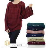 FASHION WANITA / SWEATER WANITA / SWEATER RAJUT / CROP JARING SWEATER