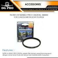 FILTER UV KENKO PRO1 DIGITAL 58MM FOR CANON,NIKON,SONY,FUJIFILM