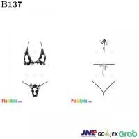 B137 - Bikini String Halterneck Hitam Open Cup Crotchless