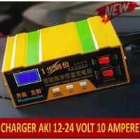 Smart Charger AKI Mobil Motor Cas AKI 12 V dan 24 Volt  10 A Fast