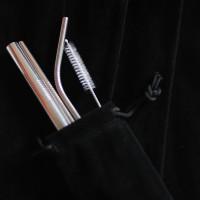 Paket Sedotan Stainless Steel Capillary CHROME SILVER