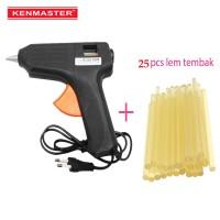 Kenmaster Glue Gun Lem tembak 15 W + 25 Pcs Lem stick kecil 12pcs