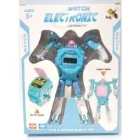 Jam Tangan Anak Digital Electronic Watch Robot Deformable Toy Biru