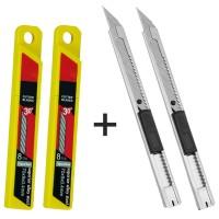 CNGZSY 2PCS Mini Art Utility Knives 20PCS Stainless Steel Blades DIY