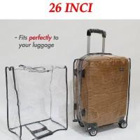 Sarung Koper Transparan 26 Inci Tanggung Cover Troli Travel Trolley B