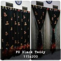 horden homemade bahan dispreses termurah tidak luntur motif black tedy